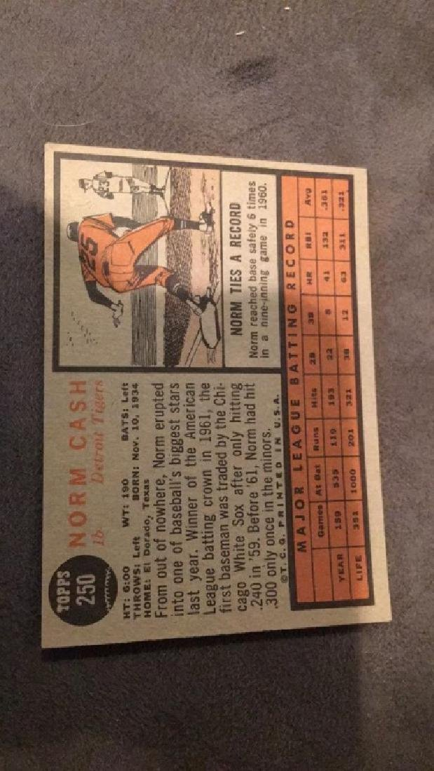 Norm cash 1962 tops vintage baseball card Detroit - 2