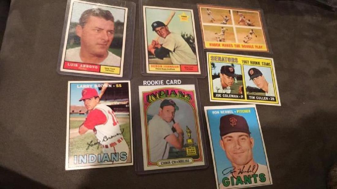 Seven card vintage baseball lot Chris Chambliss
