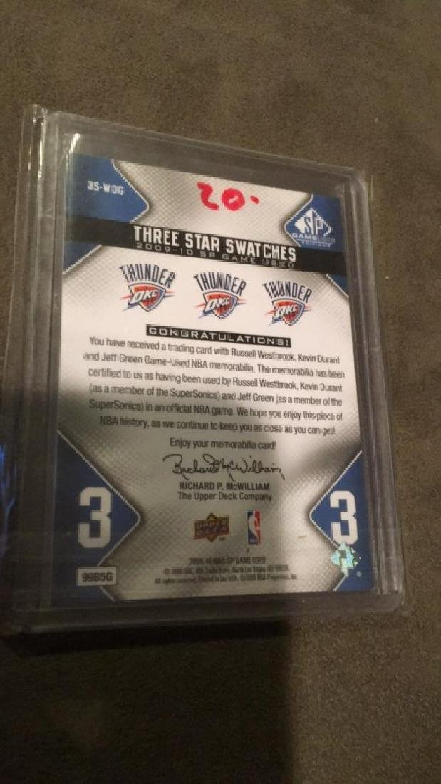 2009 10 SP game used three star swatches Durrant - 3