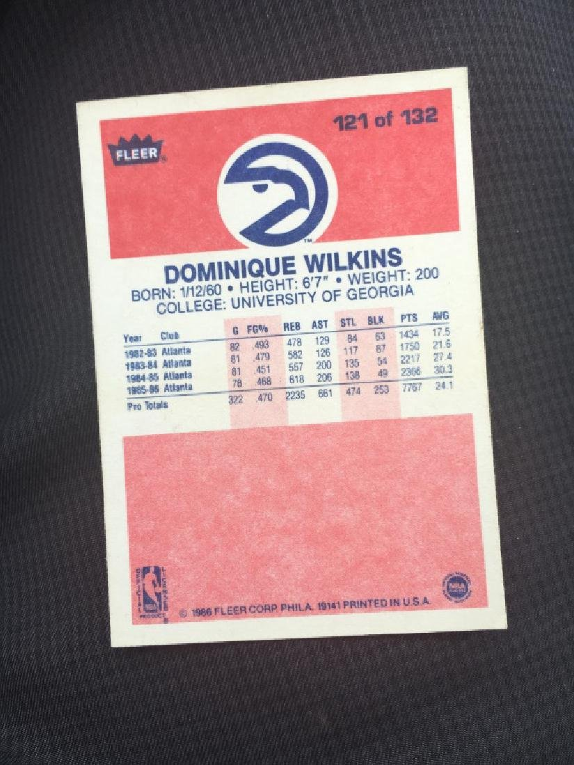 1986 FLEER BASKETBALL #121 DOMINIQUE WILKINS (RC) - 2