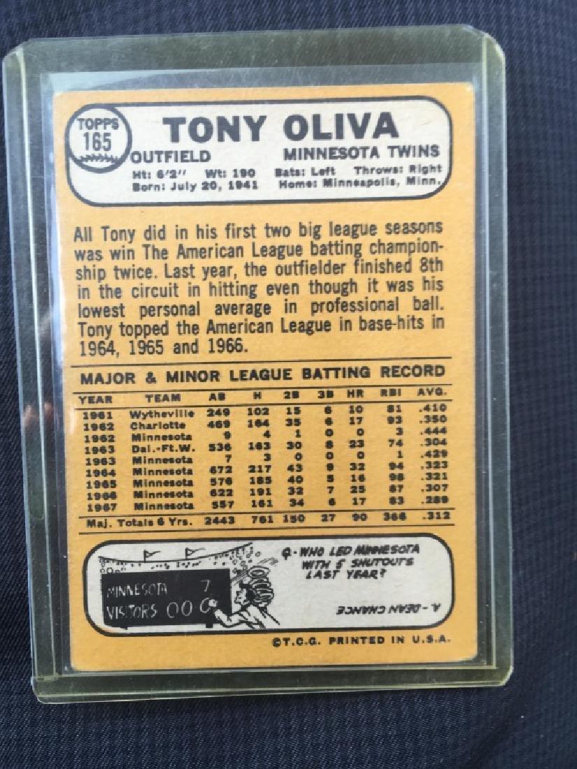 Tony Oliva 1968 Topps Card - 2