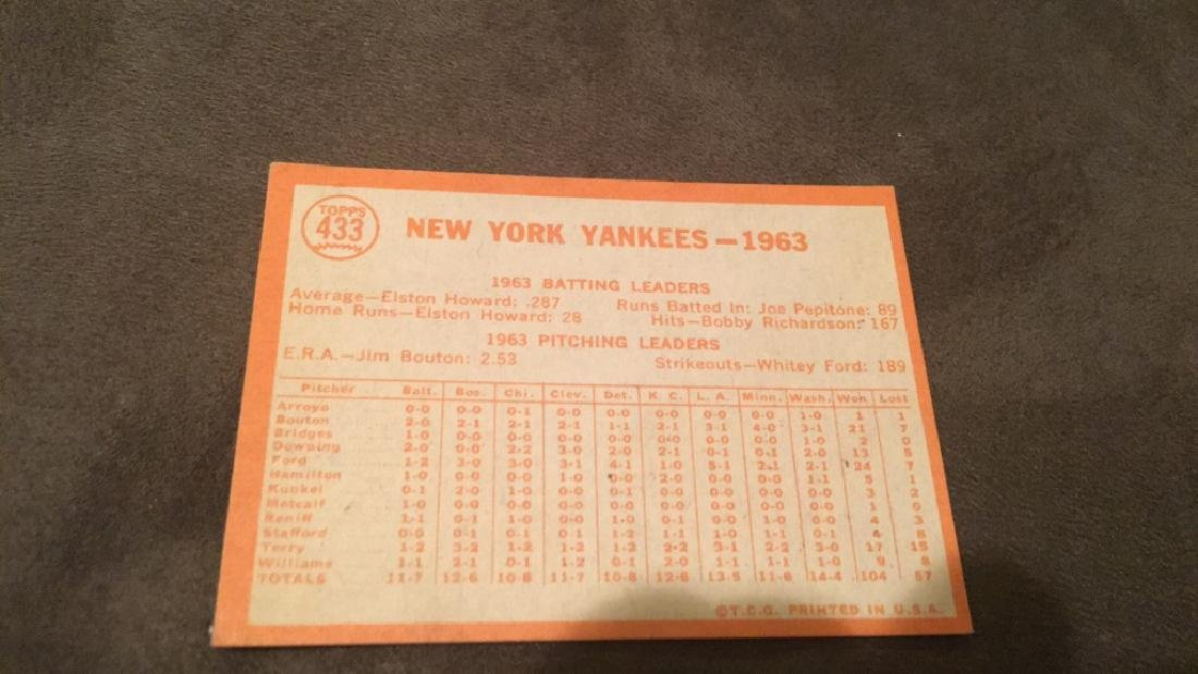 1964 Tops New York Yankees team card with Mickey - 2