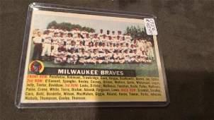 1956 Topps Milwaukee Braves Team Card Spahn Aaron