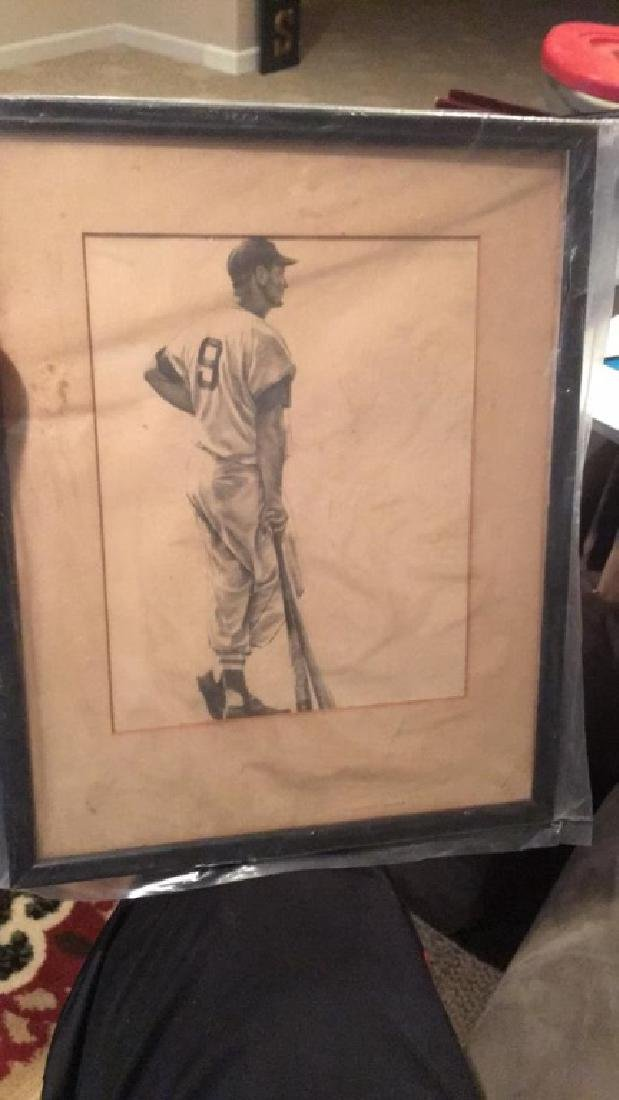 Ted Williams vintage framed picture drawing on
