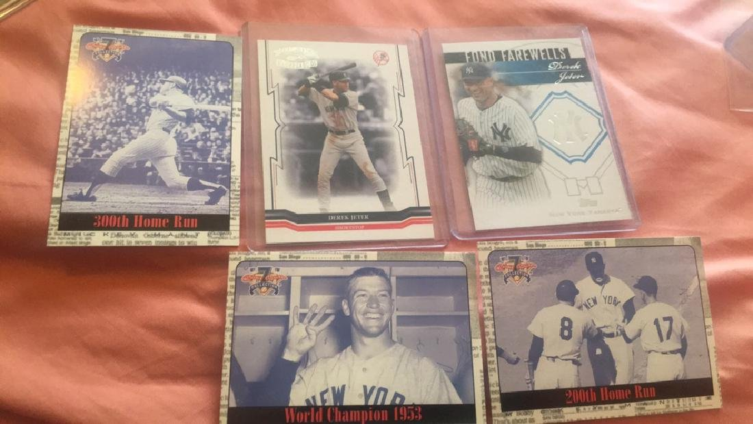 Derek Jeter Mickey Mantle 5 card lot with inserts