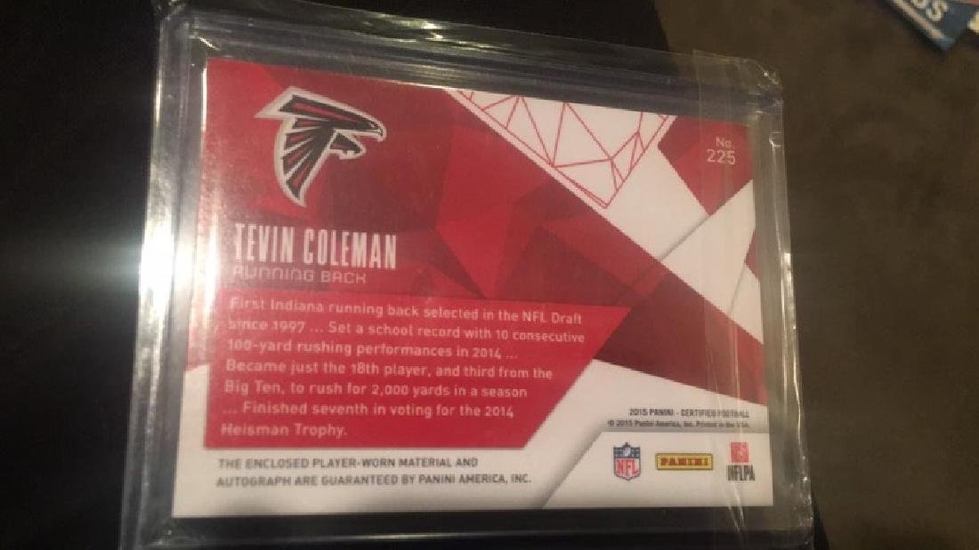Tevin Coleman 2015 Certified 3 Color patch auto - 2