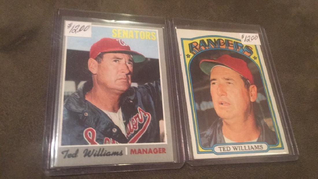 Ted Williams 1970 and 1972 Topps lot