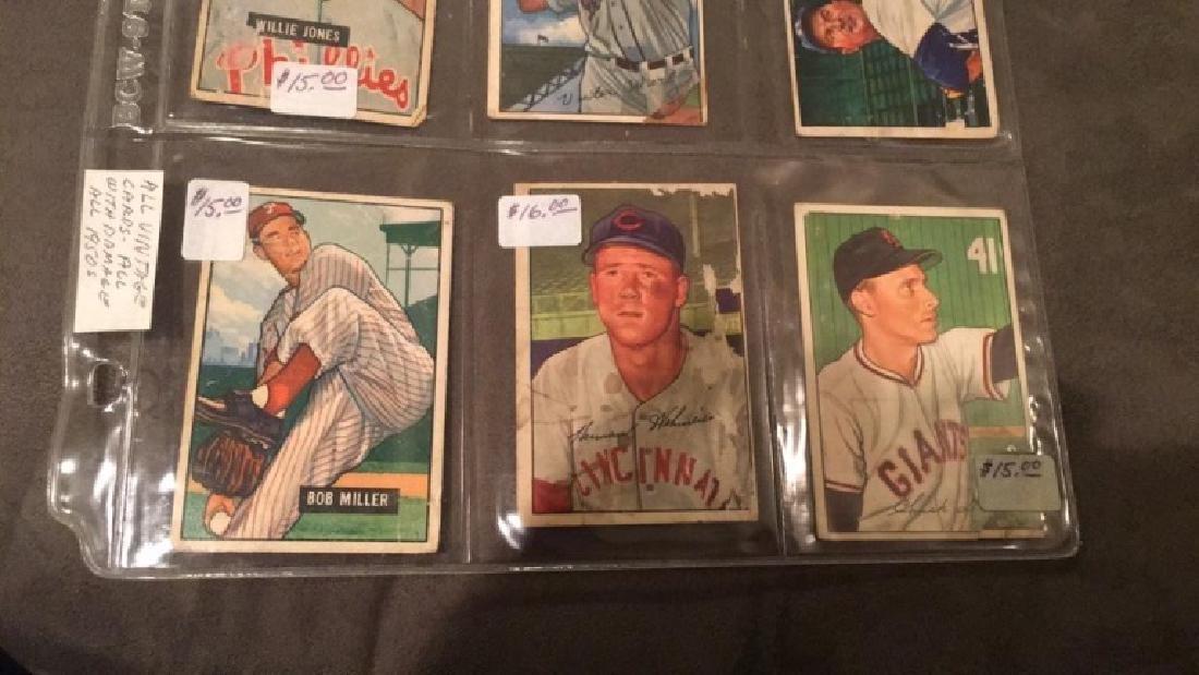 Lot of 6 1951 and 1952 Bowman vintage baseball - 2