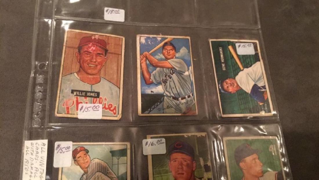 Lot of 6 1951 and 1952 Bowman vintage baseball - 3
