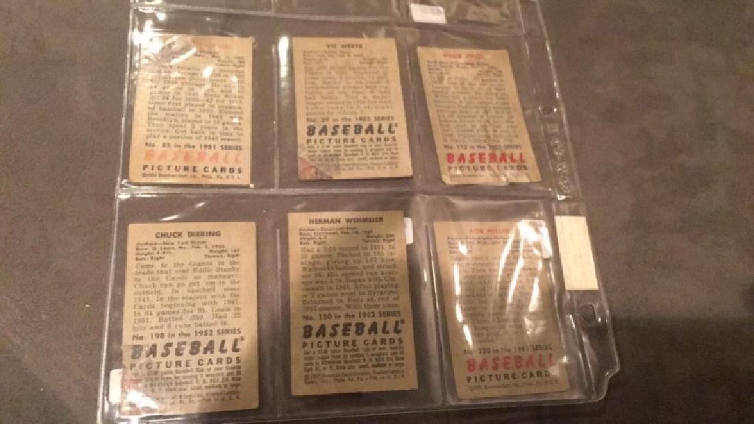 Lot of 6 1951 and 1952 Bowman vintage baseball - 4
