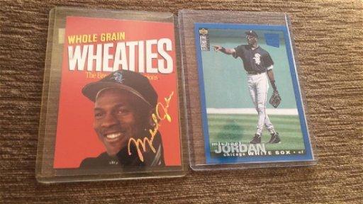 Michael Jordan 2 Card Lot Cc Blue Baseball Rc Sp