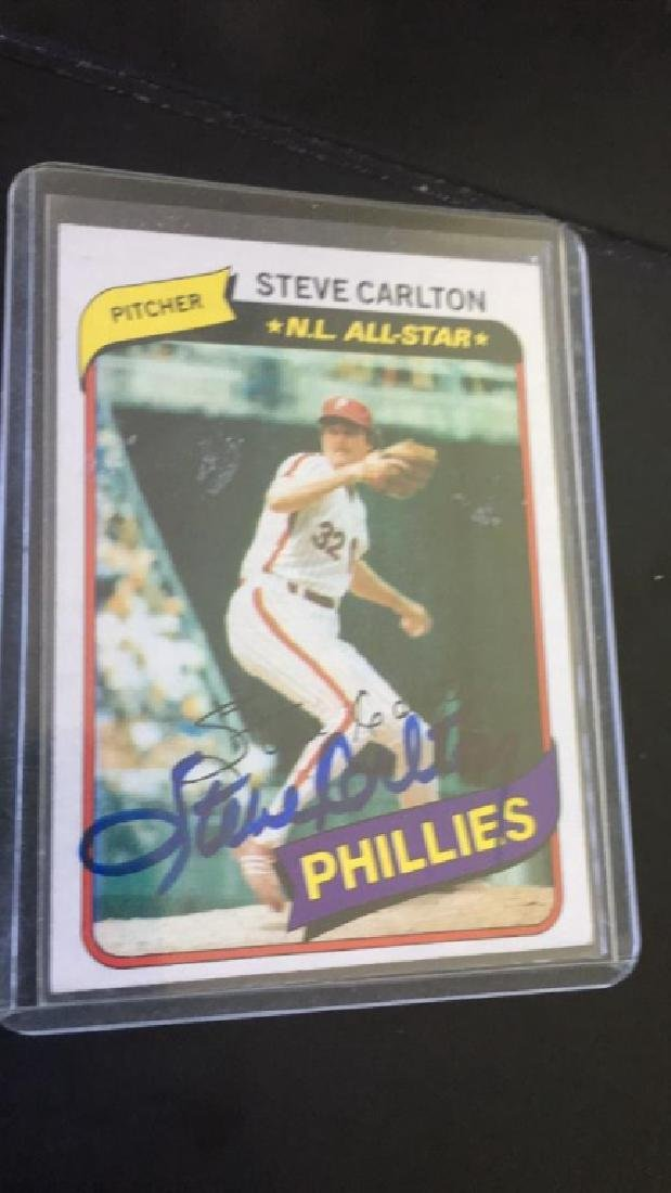 Steve Carlton 1980 Topps in card autograph 100%