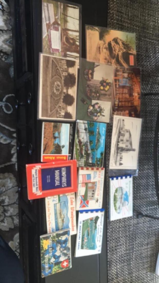 Vintage postcards and vintage color print books