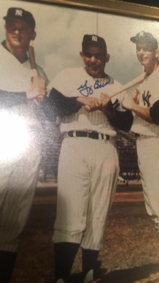 Yogi Berra Signed autograph 8x10 with Mantle and - 2