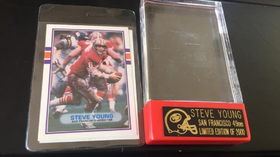 Steve Young 1989 Topps on card autograph with