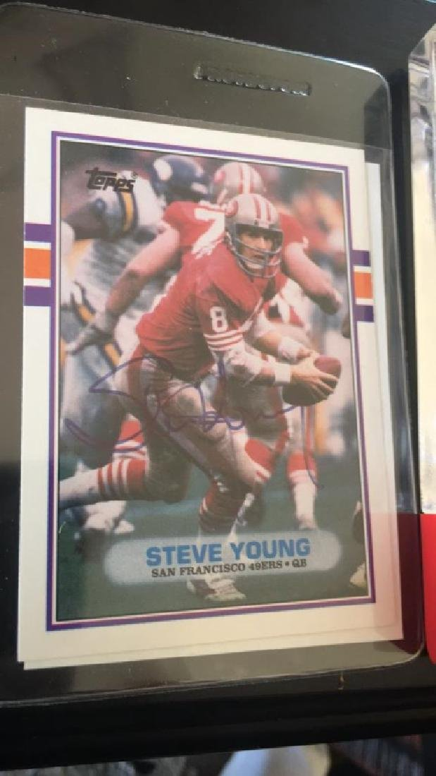 Steve Young 1989 Topps on card autograph with - 2