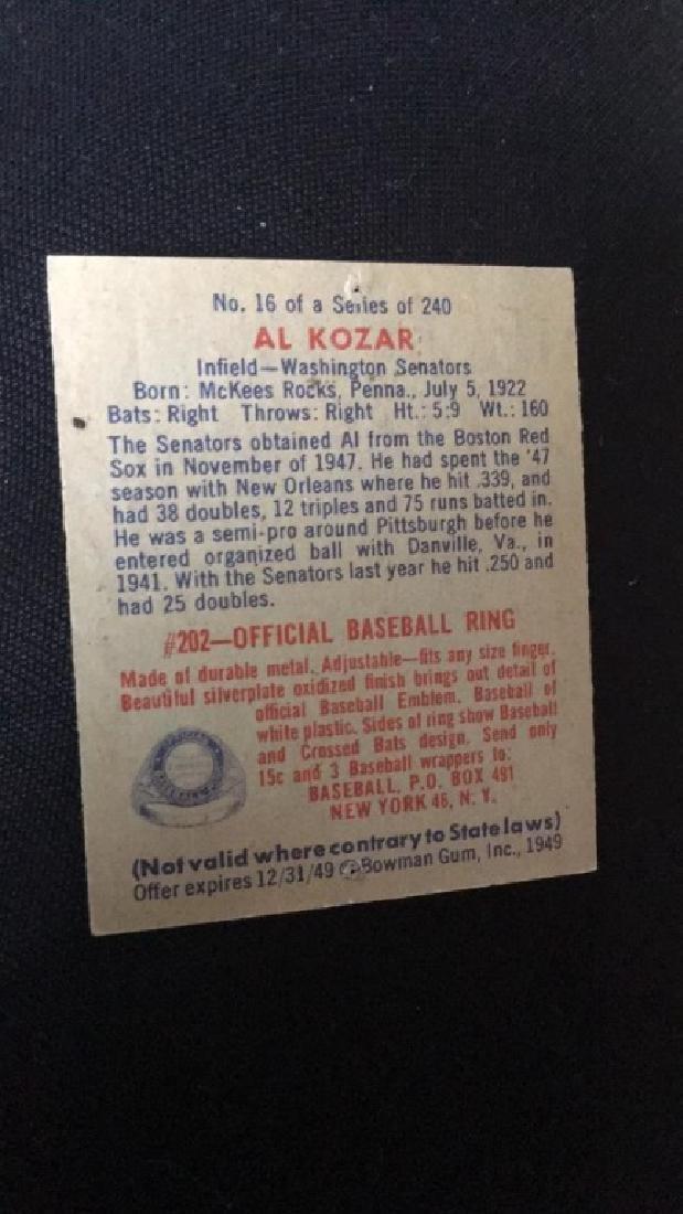 1949 Bowman Baseball Card Al Kozar - 2