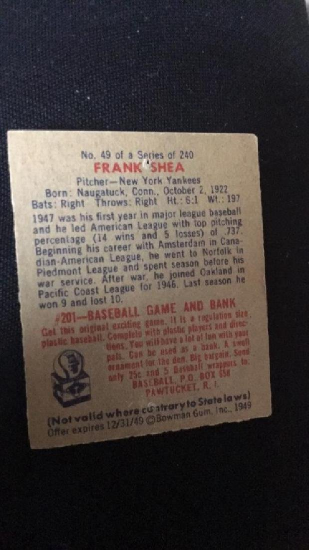 1949 Bowman Baseball Card Frank Shea - 2