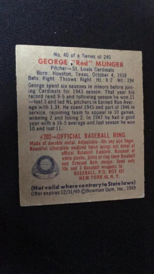 1949 Bowman Baseball Card George Red Munger - 2