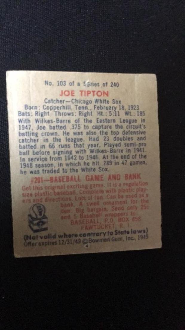 1949 Bowman Baseball Card Joe Tipton - 2