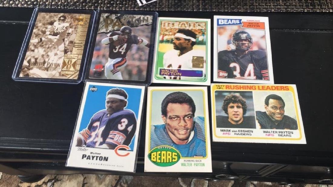 Walter Payton football card lot with a 1977