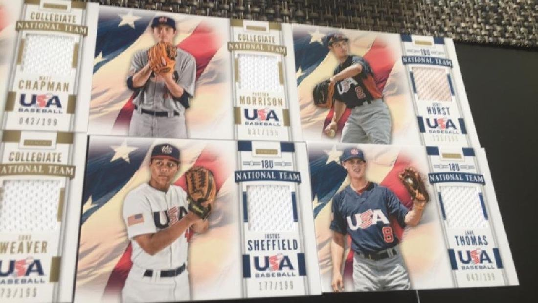 Team USA baseball jersey card lot six cars with - 3