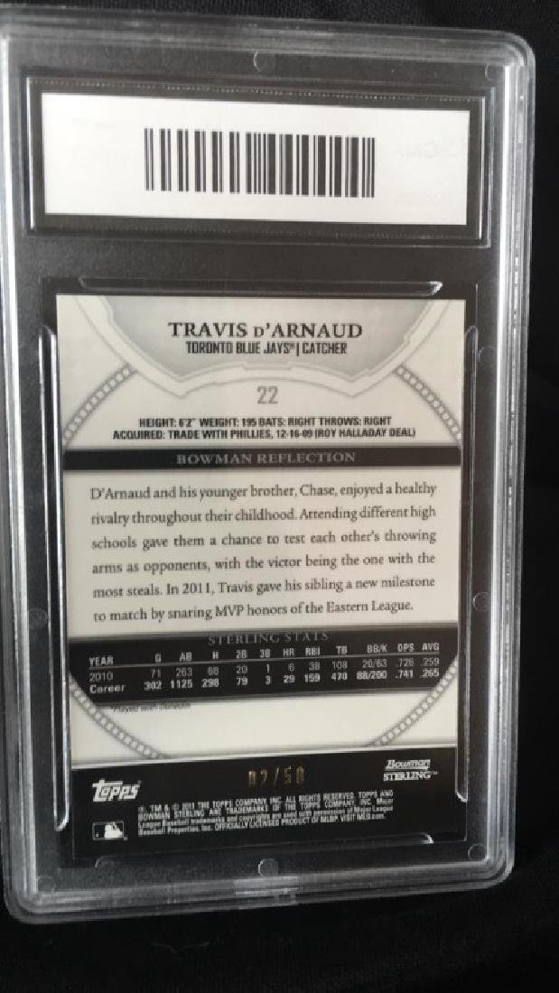 Travis D'Arnaud 2011 Bowman Sterling gold - 3