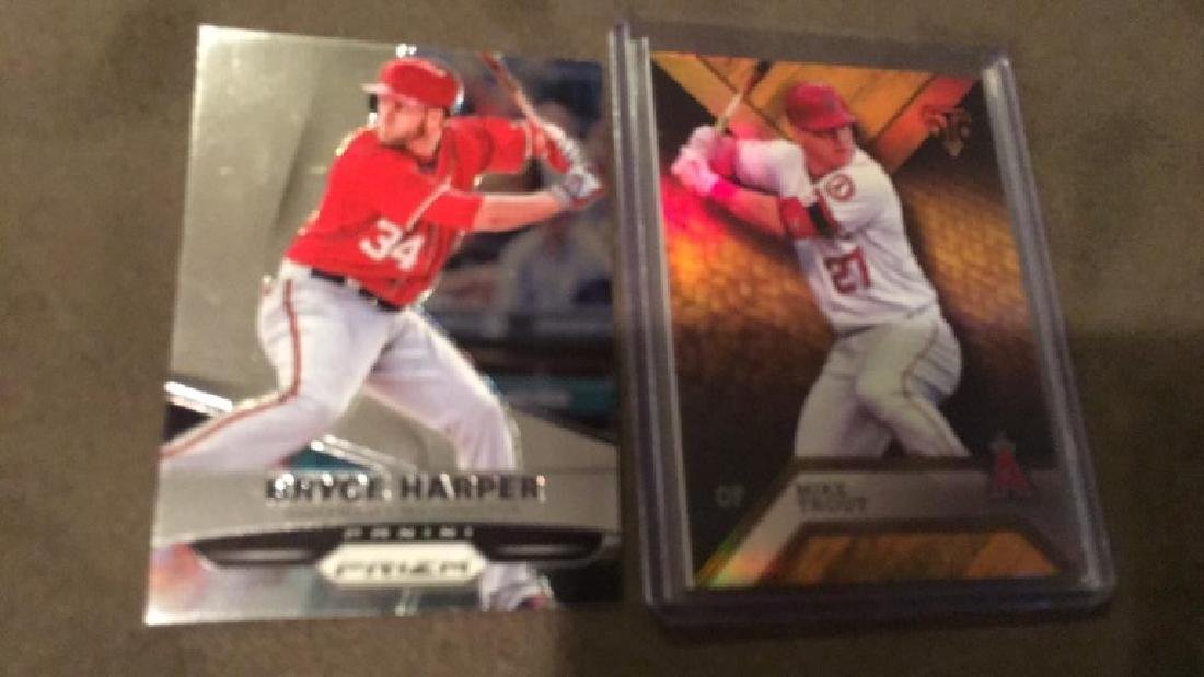 Bryce Harper prizm Mike Trout triple threads /150