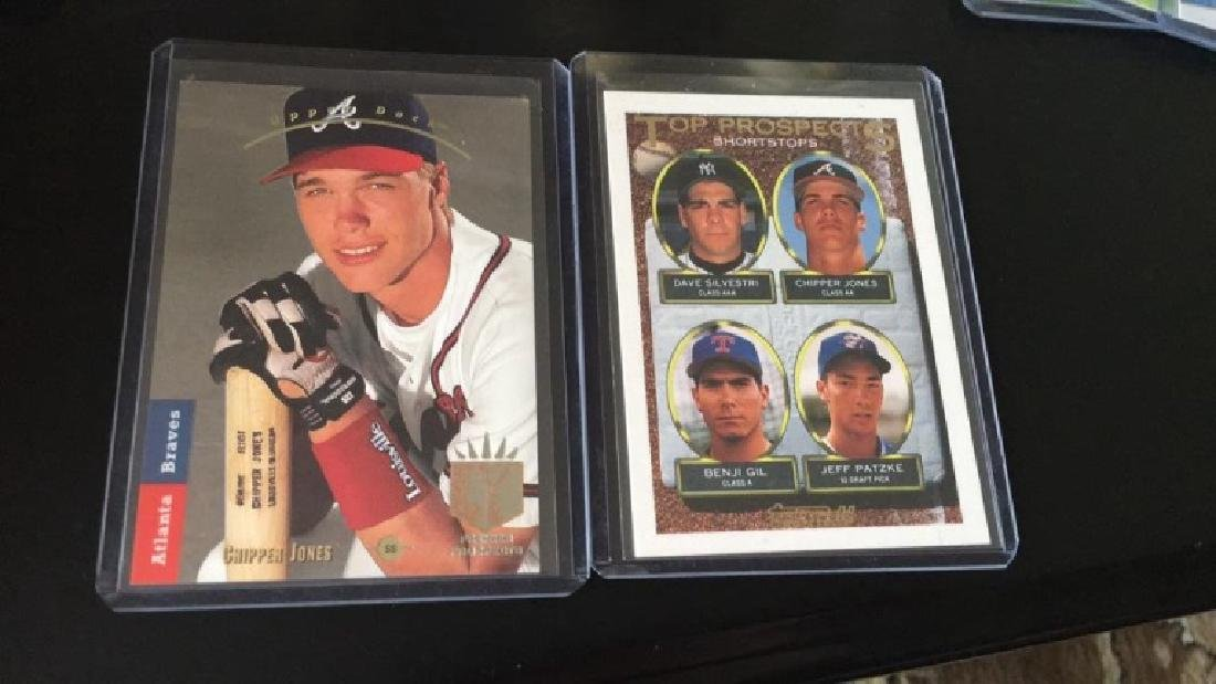 Chipper Jones SP rookie and tops gold rookie