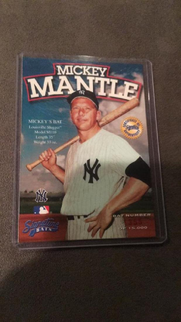 Mickey Mantle signature bats certificate of