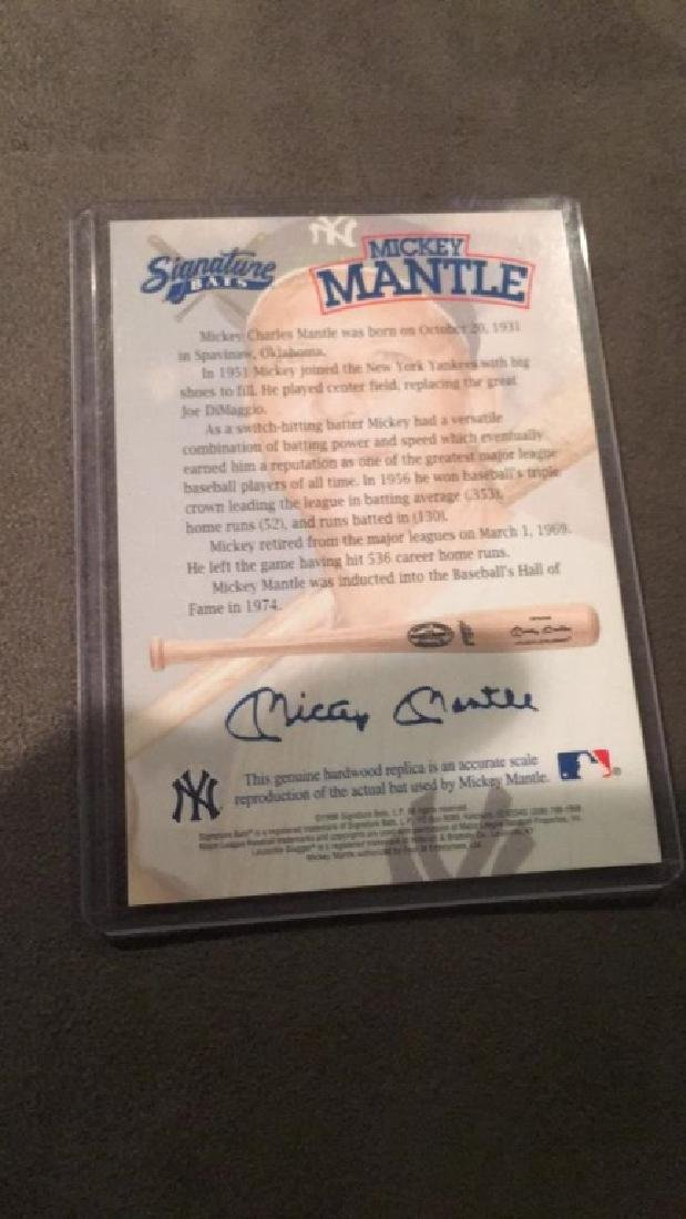 Mickey Mantle signature bats certificate of - 2