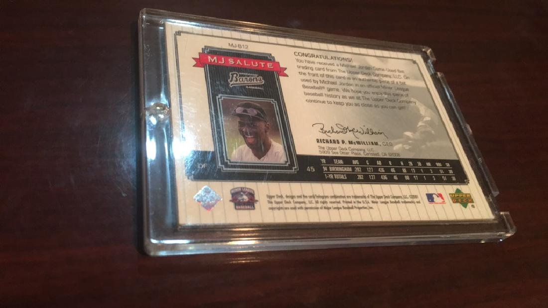 Michael Jordan 2001 MJ salute game used bat card - 2