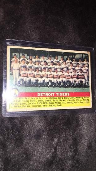 1956 tops Detroit Tigers team card