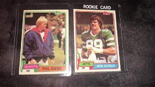 Phil Simms 1981 Topps and Mark Gastineau RC