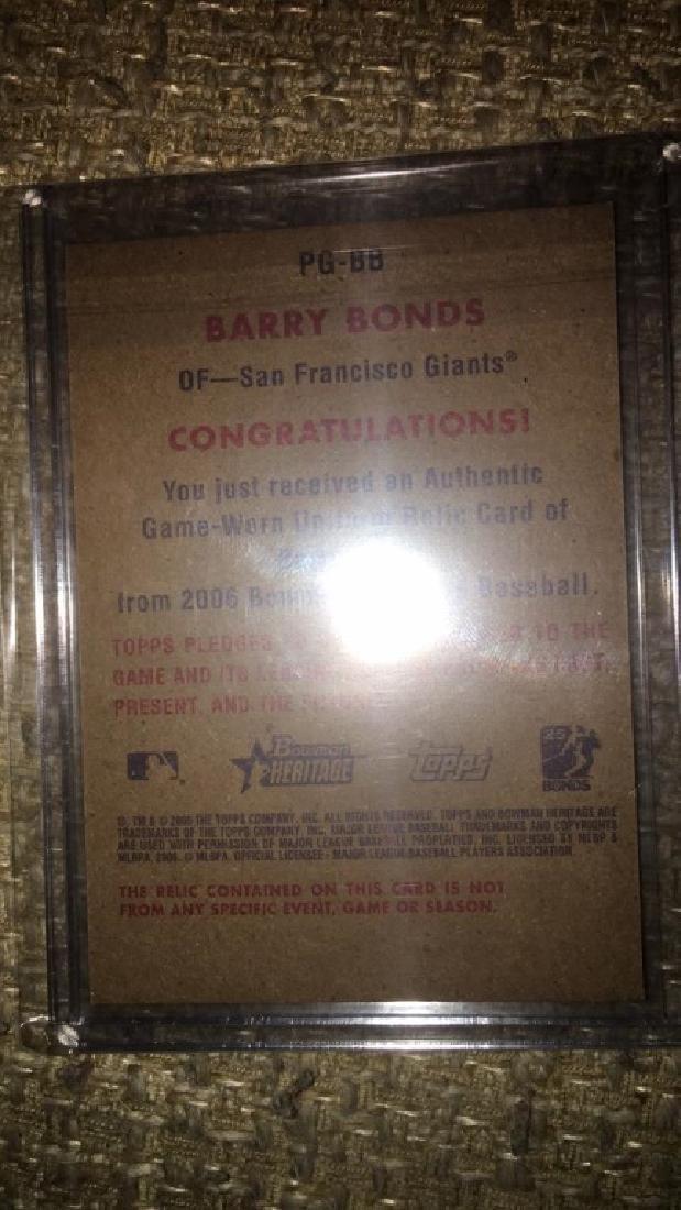 Barry Bonds 2000 Bowman heritage game worn jersey - 2