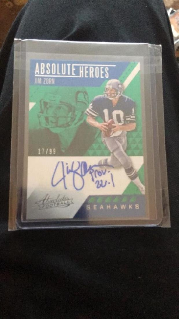 Jim Zorn absolute heroes auto /99