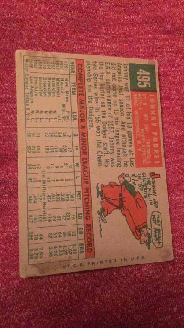 1959 Topps Johnny Podres - 2