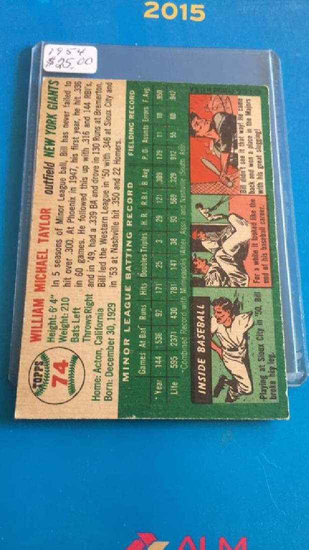 Bill Taylor 1954 Topps nice card - 2