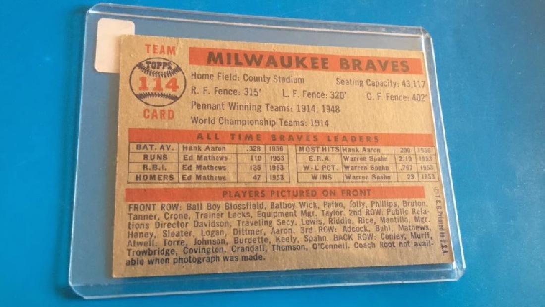Milwaukee Braves 1957 Topps team card - 2