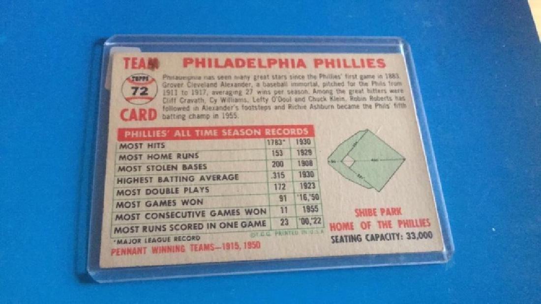 1956 Topps Philadelphia Phillies team Card - 2