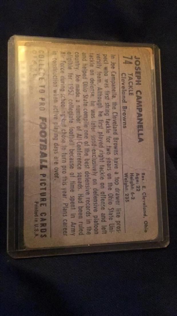 Joe Campanella 1952 Topps vintage football card - 2