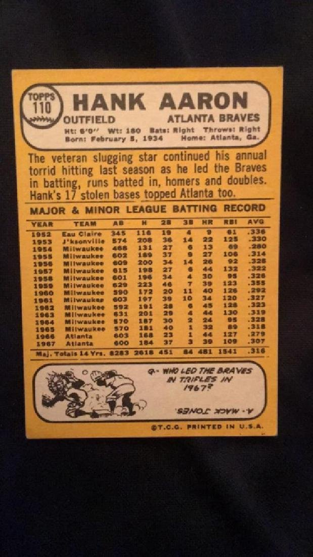 1968 Topps Hank Aaron very nice condition no - 3