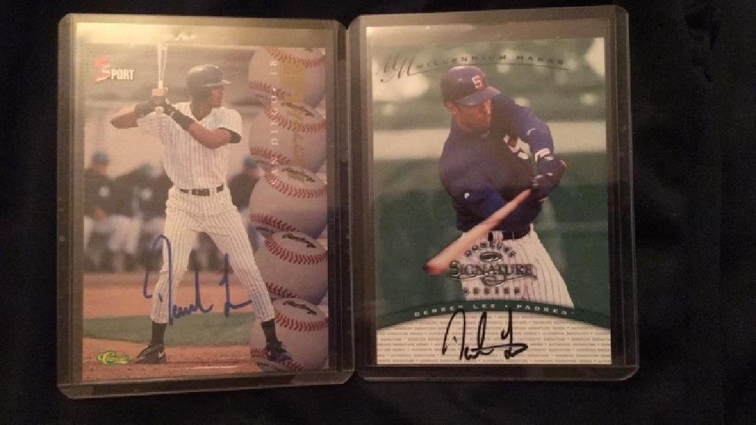 Derek Lee 2 card autograph lot with a rookie