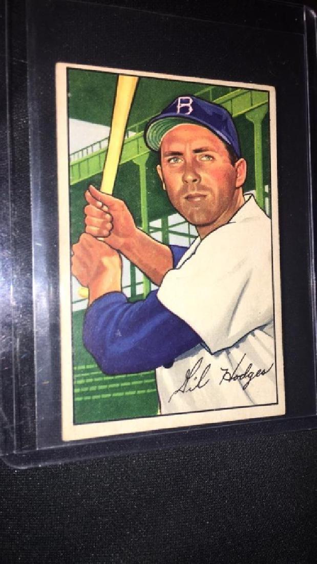 Gil Hodges 1952 Bowman Vintage Baseball Card very - 3