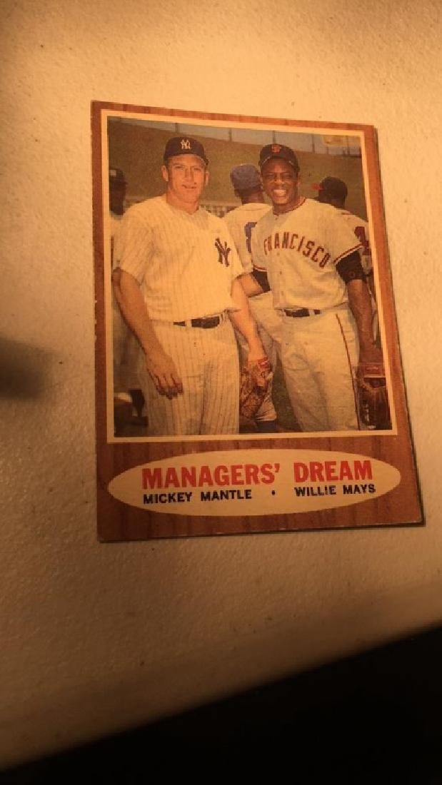 1962 Topps Mickey Mantle Willie Mays Managers