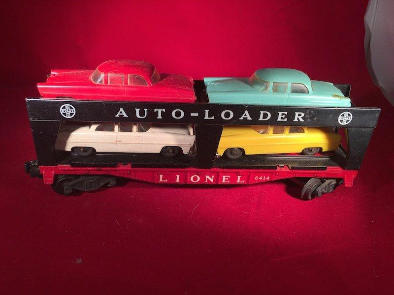 Lionel 6414 Evans Autoloader with 4 Automobiles