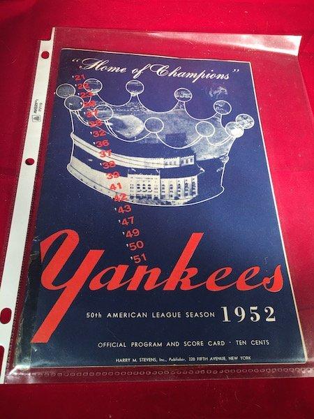 1952 NEW YORK YANKEES VS WASHINGTON SENATORS OFFICAL
