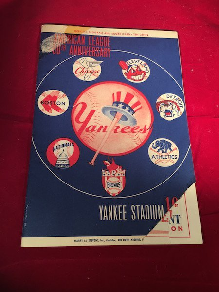 1951 Yankees Official Program and Score Card 50TH