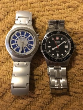 Lot Of 2 Watches Swatch Swiss And Wenger Swiss