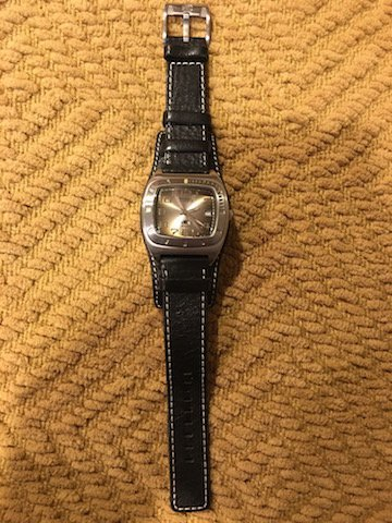 Fossil 100 Meters Blue Wristwatch Nice Condition Black